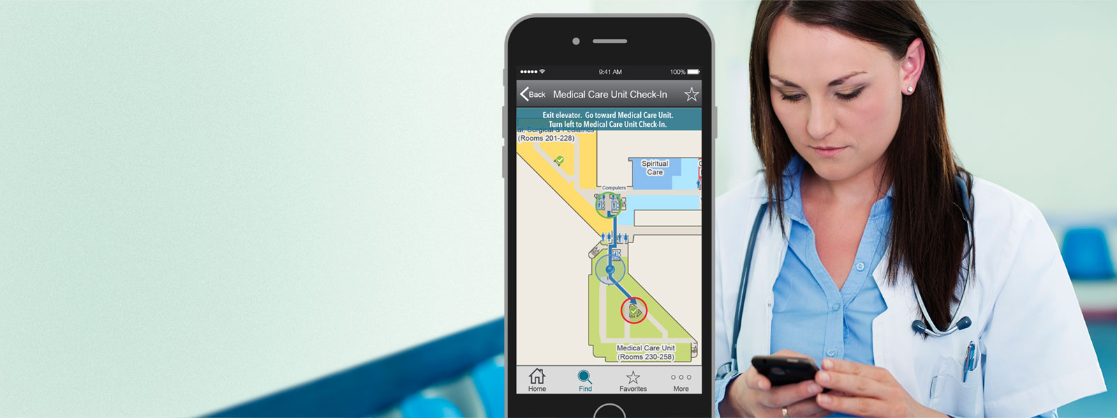 Doctor in hospital with MediLocator blue dot navigation